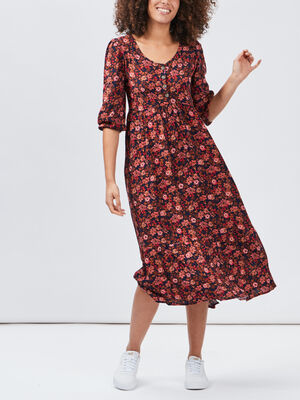 Robe longue evasee rose femme