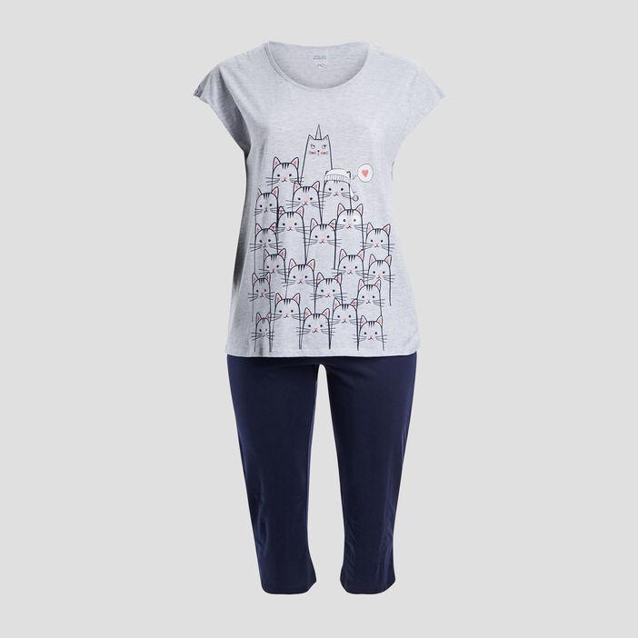 Ensemble pyjama grande taille femme grande taille gris