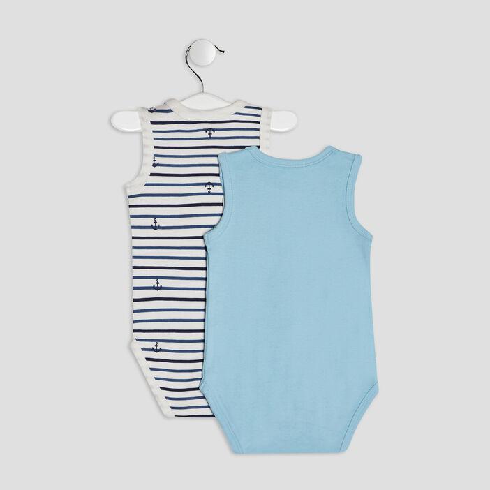 Lot 2 bodies bébé garçon bleu