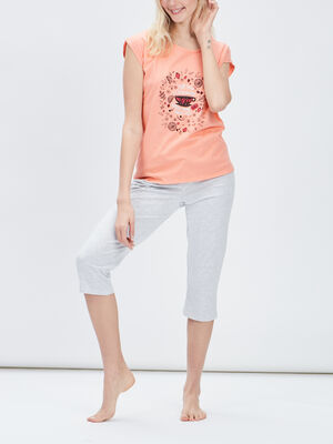 Ensemble pyjama 2 pieces orange corail femme