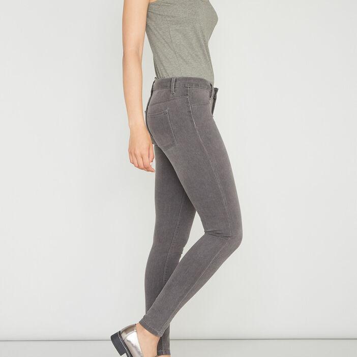Jean skinny 5 poches uni femme gris