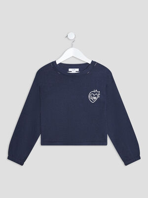 Pull manches longues bleu marine fille
