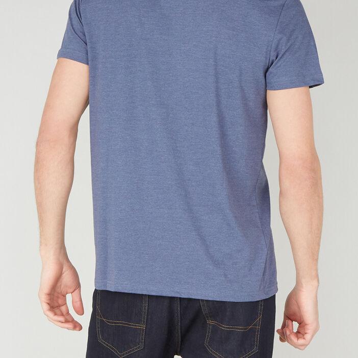 T-shirt col V en coton homme bleu