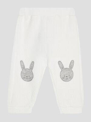 Pantalon avec patchs blanc bebeg