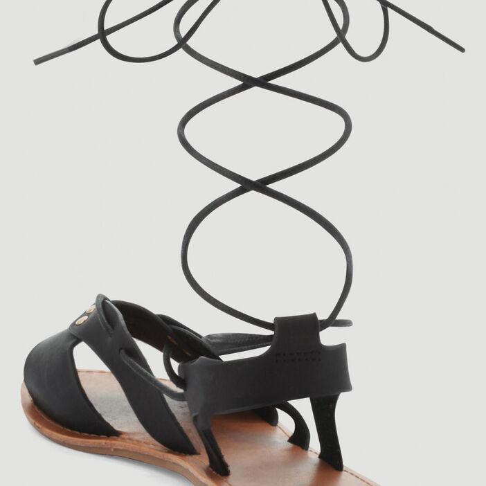 Sandales avec laçage cheville femme noir