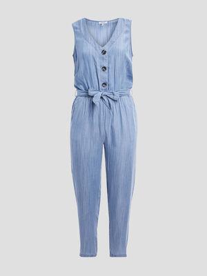 Combinaison pantalon ceinturee denim bleach femmegt