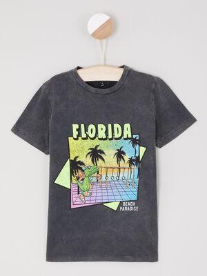 T shirt avec imprime en coton noir garcon