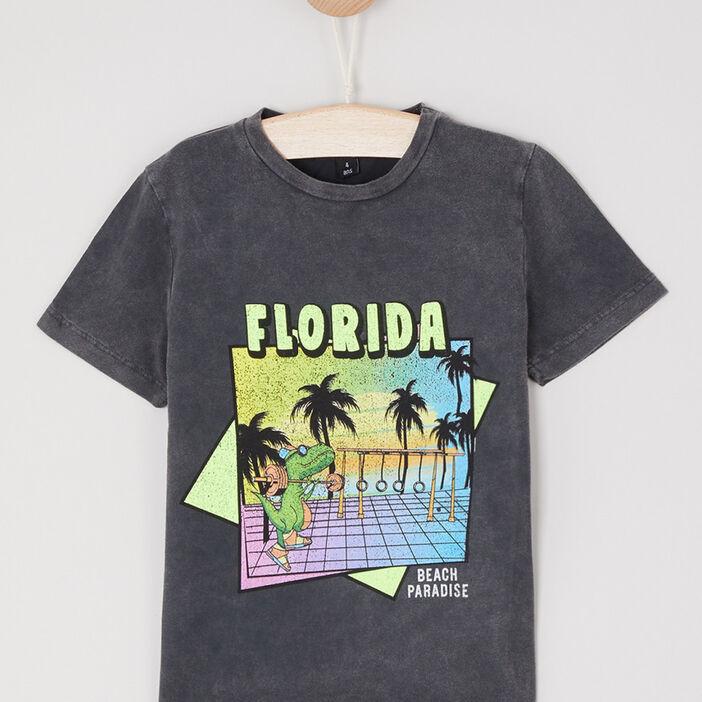 T-shirt avec imprimé en coton garçon noir