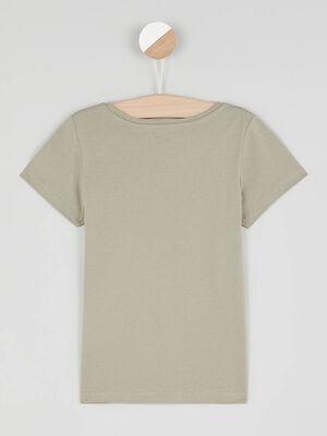T shirt uni en coton vert kaki fille