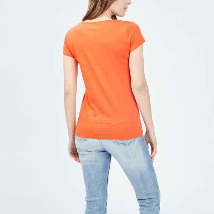 T-shirt manches courtes femme rouge corail