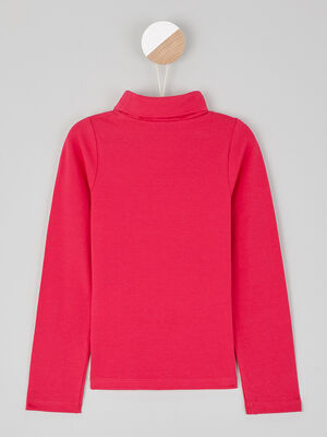 T shirt col roule coton majoritaire rose fushia fille