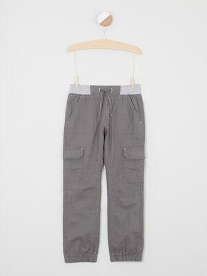 Pantalon multipoche en coton gris clair garcon