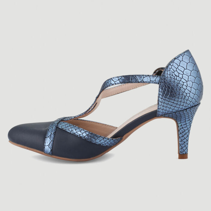 Escarpins bride boucle talon aiguilles femme bleu