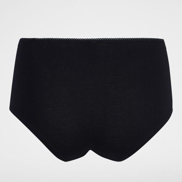 Boxer coton uni avec dentelle femme noir