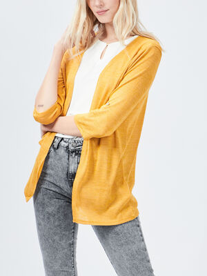 Gilet manches 34 jaune moutarde femme