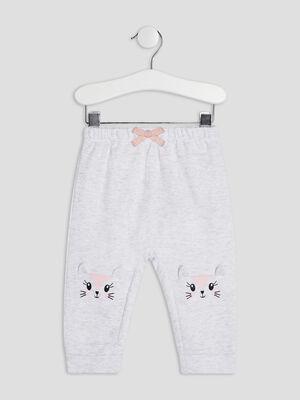Pantalon droit elastique gris bebef