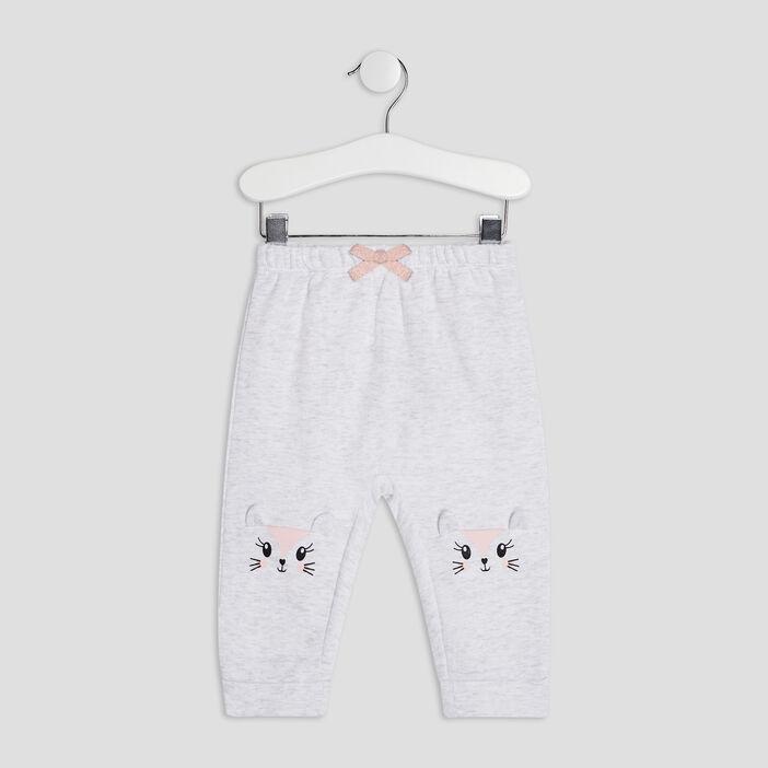 Pantalon droit élastiqué bébé fille gris