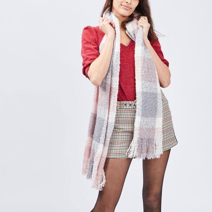 Écharpe à franges mixte rose clair