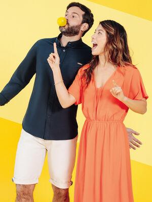 Robe midi evasee orange femme