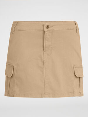 Mini jupe avec poches a rabat beige femme