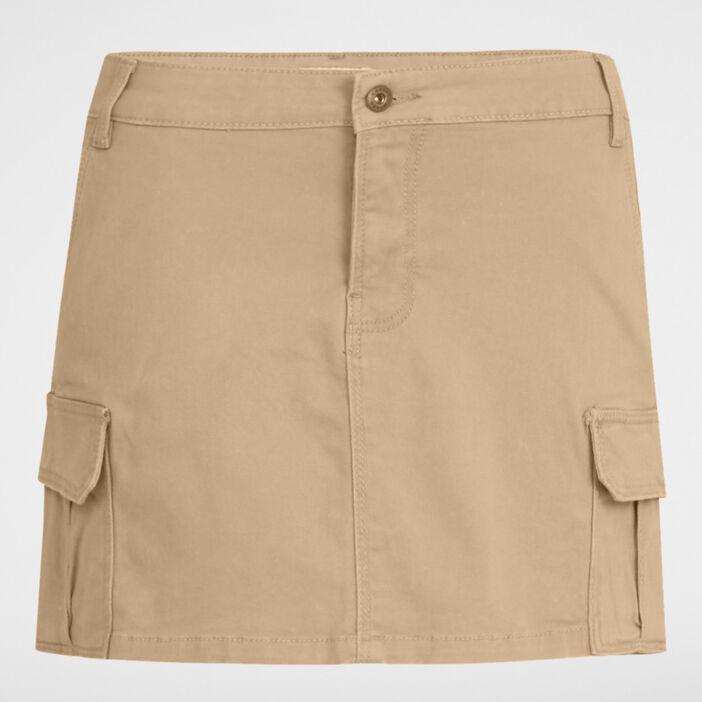 Mini-jupe avec poches à rabat femme beige
