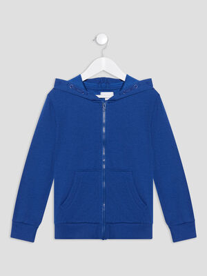 Gilet zippe a capuche bleu electrique garcon