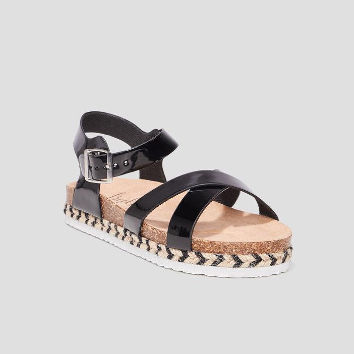 Sandales crantées Creeks fille noir