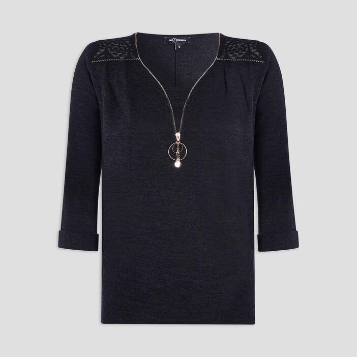 Pull avec détail bijoux femme noir