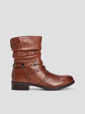 Bottes plissees en cuir marron fille