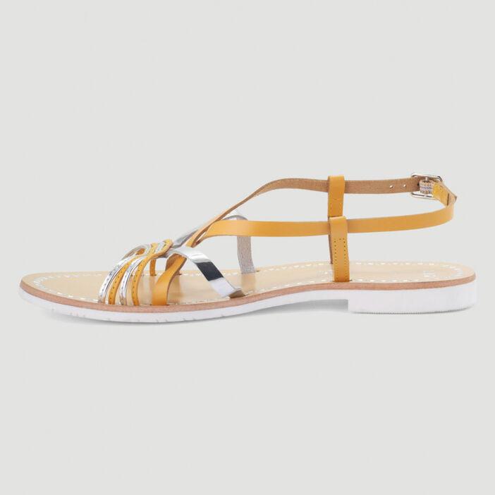 Sandales en cuir femme jaune