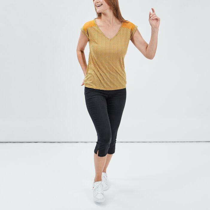 Pantacourt skinny en jean femme denim noir