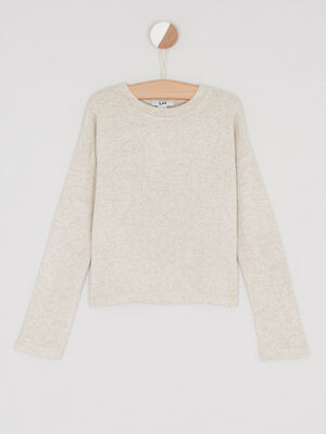 Pull chine col rond beige fille