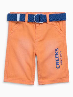 Bermuda effet vieilli ceinture textile orange garcon
