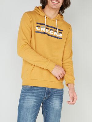 Sweatshirt avec imprime coton melange jaune homme