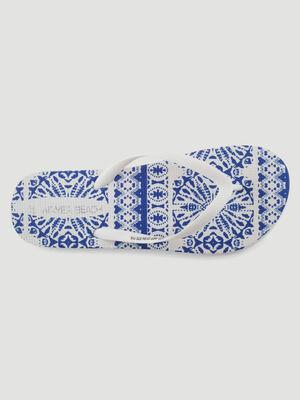 Tongs avec motifs azulejos blanc femme