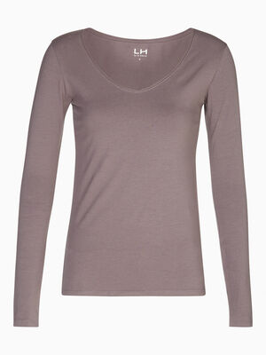T shirt col V ajuste gris fonc femme