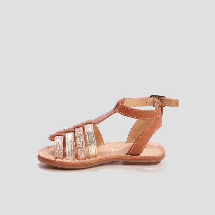 Sandales spartiates en cuir fille vert