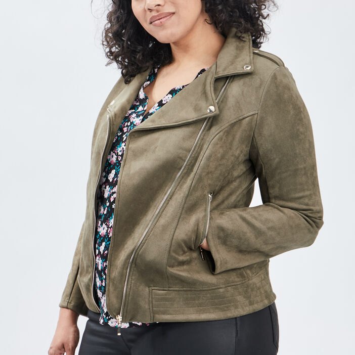 Veste style biker zippée femme grande taille vert kaki