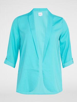 Veste fluide unie grande taille bleu turquoise femme