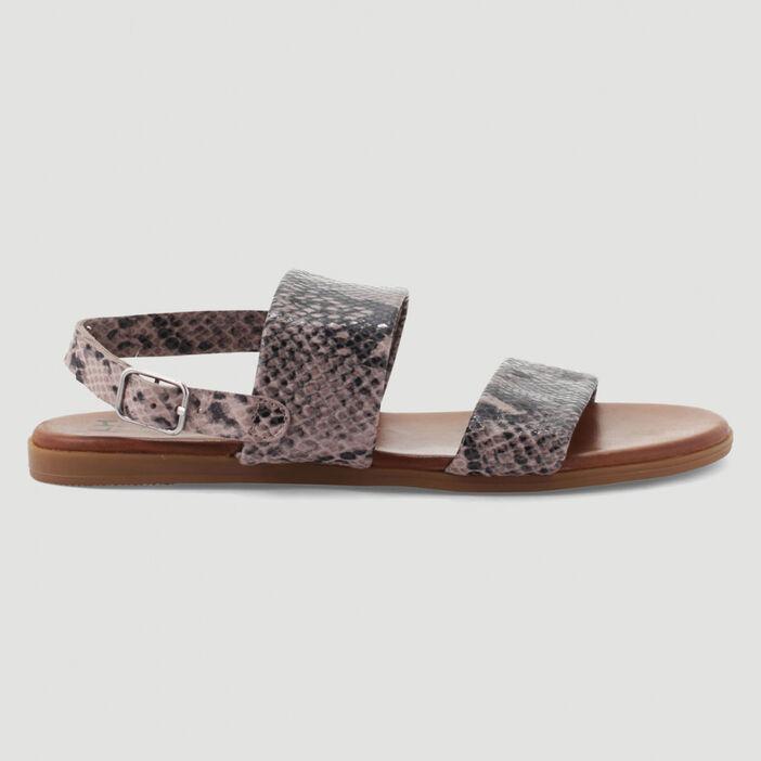 Sandales cuir larges brides unies femme gris