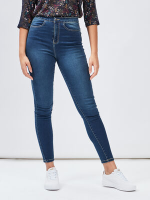 Jeans skinny taille haute denim dirty femme