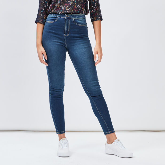 Jeans skinny taille haute femme denim dirty