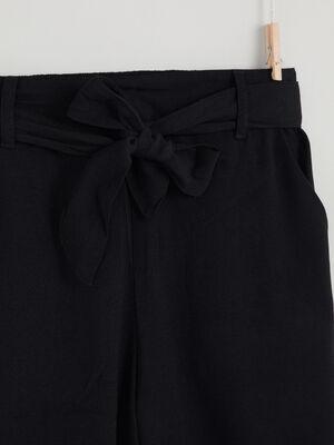 Pantalon zippe coupe evasee noir fille