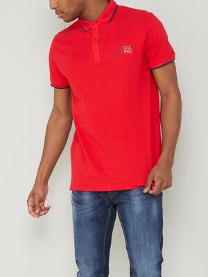 Polo manches courtes coton rouge homme