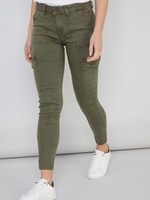 Pantalon skinny multipoches vert kaki femme