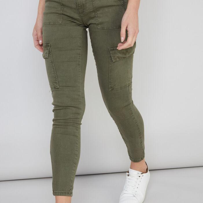 Pantalon skinny multipoches femme vert kaki
