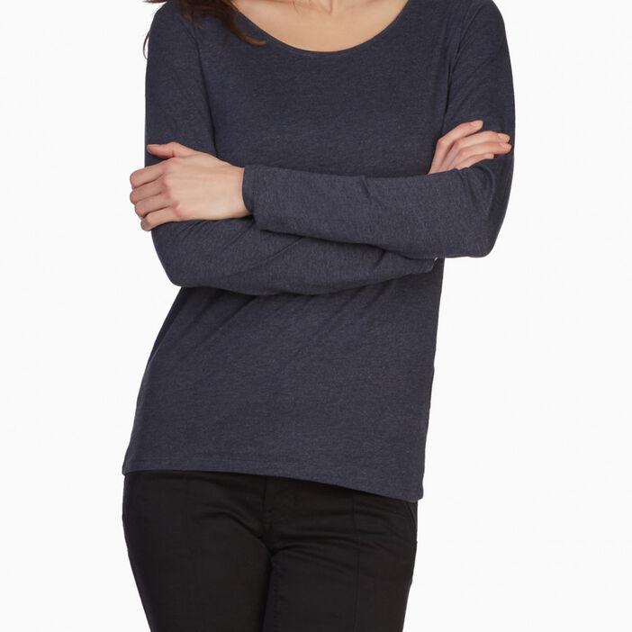 T-shirt à manches longues femme bleu marine