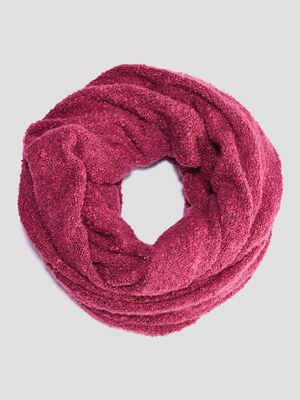 Snood maille bouclette rose framboise femme
