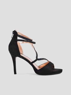 Sandales a talons avec strass noir femme