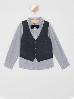 Ensemble chemise veston noeud papillon gris fonce garcon